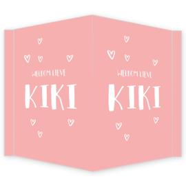 Geboortebord - Geboortebord raam roze met hartjes type Kiki