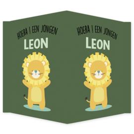 Geboortebord - Geboortebord raam groen met een leeuw type Leon