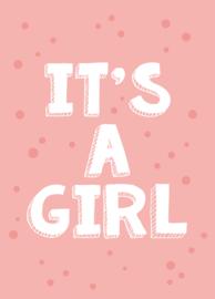 Geboortebord raam met leuke stippen en de tekst 'it's a girl'.