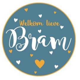 Geboortesticker full colour met hartjes type Bram