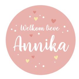 Geboortesticker met stipjes en hartjes type Annika