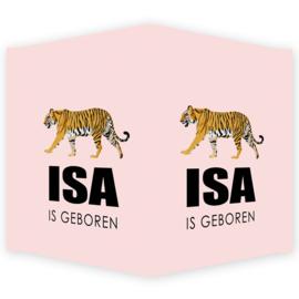 Geboortebord - Geboortebord raam met een tijger type Isa