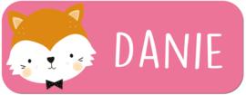 Naamstickers kind met een schattig vosje type Danie