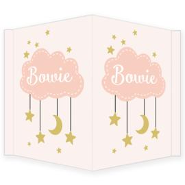Geboortebord meisje - Geboortebord raam met wolkje en sterretjes type Bowie