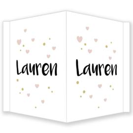 Geboortebord - Geboortebord raam met stipjes en hartjes type Lauren