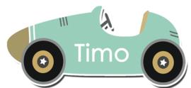 Naamstickers in vorm raceauto