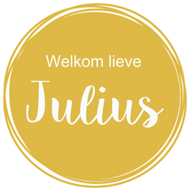 Geboortesticker in okergeel type Julius