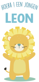 Geboortesticker full colour met leeuw type Leon