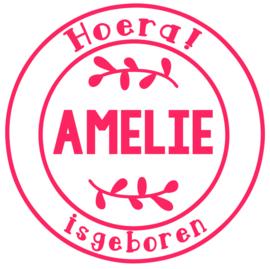 Geboortesticker in stempel vorm type Amelie