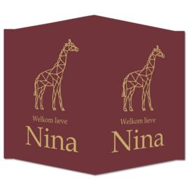 Geboortebord - Geboortebord aubergine kleur met giraf type Nina