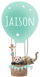 Geboortesticker full colour met mooie dieren in een luchtballon type Jaison