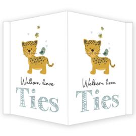 Geboortebord - Geboortebord voor een jongen met een leuke jaguar type Ties