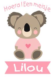 Geboortesticker full colour met leuke koala type Lilou