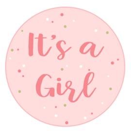 Geboortesticker full colour met de tekst 'it's a girl'.