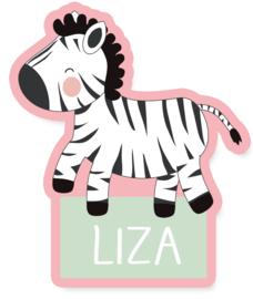Naamstickers in vorm met een super leuke zebra