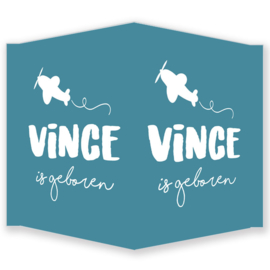 Geboortebord jongen- Geboortebord raam met een vliegtuigje type Vince