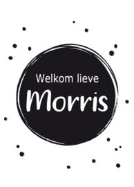 Geboortebord - Geboortebord cirkels met zwarte stipjes type Morris