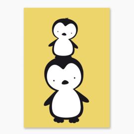 Poster okergeel met zwarte pinguins - poster babykamer of kinderkamer