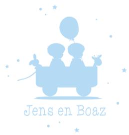 Geboortesticker tweeling type Jens en Boaz