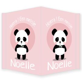 Geboortebord - Geboortebord raam met een leuke panda Noelle