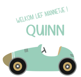 Geboortesticker met auto full colour type Quinn