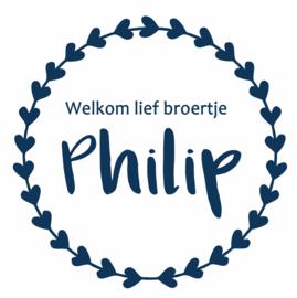 Geboortesticker met de tekst 'welkom lief broertje' type Philip