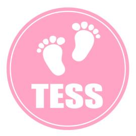 Geboortesticker full colour met babyvoetjes type Tess