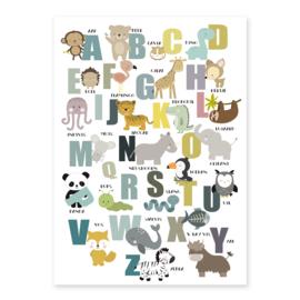 Alfabet poster met dieren - wit
