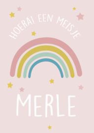 Geboortebord meisje - Geboortebord raam met leuke regenboog type Merle