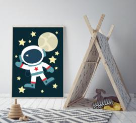 Poster met astronaut - poster babykamer of kinderkamer