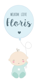 Geboortesticker baby met ballon full colour type Floris