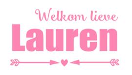 Geboortesticker met pijlen en een hartje type Lauren