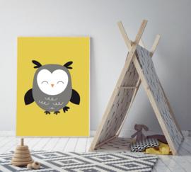 Poster geel met een uil - poster babykamer of kinderkamer