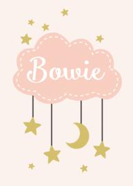 Geboortebord - Geboortebord raam met wolkje en sterretjes type Bowie