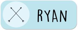 Naamstickers kind met twee pijlen type Ryan