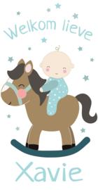 Geboortesticker met een leuke baby op een hobbelpaard