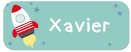 Naamstickers met een raket en sterretjes type Xavier