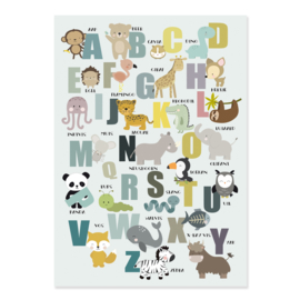 Alfabet poster met dieren - mint