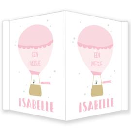 Geboortebord - Geboortebord raam  met een luchtballon type Isabelle