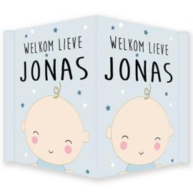 Geboortebord jongen - Geboortebord raam met een leuke baby type Jonas