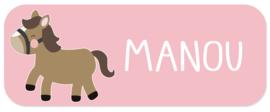Naamstickers met een lief paardje type Manou