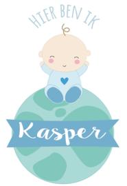 Geboortesticker lieve baby op wereldbol full colour type Kasper