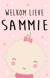 Geboortesticker full colour met baby type Sammie