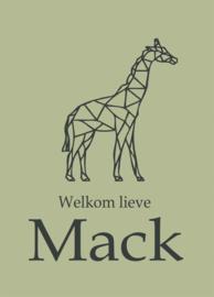 Geboortebord - Geboortebord oud groen met een giraf type Mack
