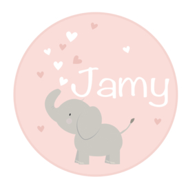 Geboortesticker full colour met leuke olifant type Jamy