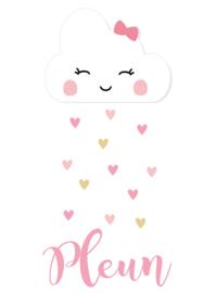 Geboortesticker wolkje met schattige hartjes type Pleun