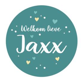 Geboortesticker met leuke stipjes en hartjes type Jaxx