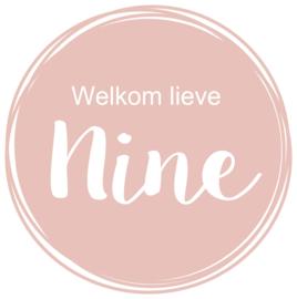 Geboortesticker raam oud roze met cirkels type Nine