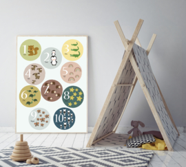 Cijfer poster tellen 1 - 10 met dieren mint - poster babykamer of kinderkamer