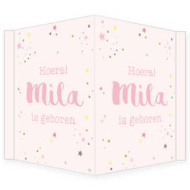 Geboortebord - Geboortebord met stippen en sterretjes type Mila